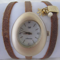 Handmade Bracelet Oval Gold Watch  FREE SHIPPING