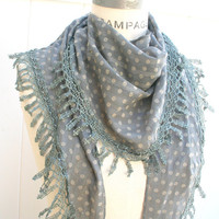 Lace Scarf   Women Fashion Scarfs FREE SHIPPING Floral Grey Lace Scarf Trendy Spring  Fashion Neckwarmer  - By PIYOYO