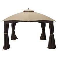 Shop allen + roth 10-ft  x 12-ft x 6-ft 9-5/8-in Beige Steel Gazebo at Lowes.com
