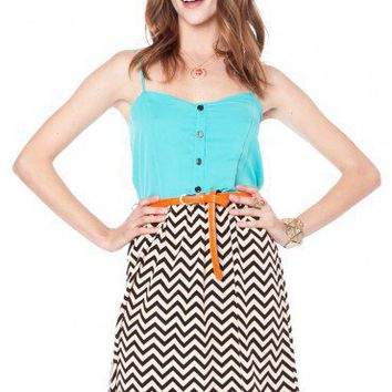 Zig Zag Sun Dress in Aqua - ShopSosie.com