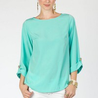 Bateau neck blouse in mint- ShopSosie.com