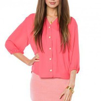 Crosby Blouse in Coral - ShopSosie.com