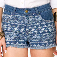 Southwestern Print Frayed Denim Shorts | FOREVER 21 - 2027706252