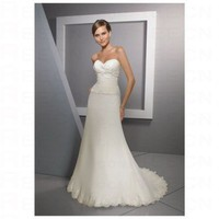 Chic White Satin Sweetheart Neckilne Strapless Floor Length Wedding Dress