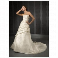 Chic White Satin A line Pleated Waistline Straight Strapless Neckline Wedding Dress