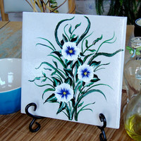 Tile Trivet/ Spoon Rest With Blue Flowers