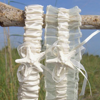 Starfish Beach Wedding Ivory Garter Set-SIMPLY IVORY-Beach Weddings, Starfish Bridal, Bridal Garter Set, Ivory Garter Set, Nautical Wedding
