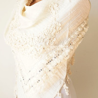 Flower Scarf - Cotton Scarf - Cream Scarf - Cowl Shawl