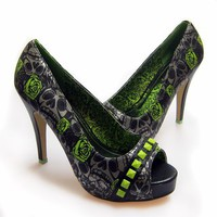 Iron Fist Muerte Punk Princess Platform Heel Shoe - Lime Green