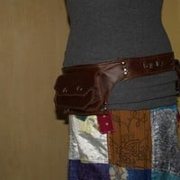 MADE TO ORDER brown leather double hip pocket belt by Kradwear