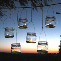 8 DIY Lanterns WIDE Mouth Mason Jar Hangers, Ball Jar Lantern Hangers Only -No Jars