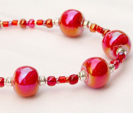 Fiery Red Hot Fire Polished Ceramic Beaded Necklace | GracefulArts - Jewelry on ArtFire