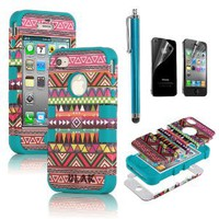 Pandamimi ULAK Hybrid High Impact Case Tribal Pink / Blue Silicone for iPhone 4 4S +Screen Protector +Stylus: Cell Phones &amp; Accessories