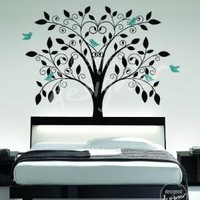 Ornate Tree with Little Birds  vinyl wall by designedDESIGNER