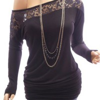 Patty Women Sexy Black On / One Shoulder Floral Lace Long Sleeve Tunic Blouse Top: Clothing