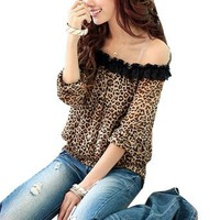 Allegra K Woman Boat Neck Half Sleeve Leopard Prints Chiffon Blouse US M ASIAN L: Clothing