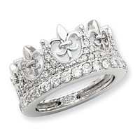 Sterling Silver Fleur-de-lis Crown CZ Ring: Jewelry