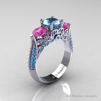 Classic 10K White Gold Three Stone Pink Sapphire by artmasters