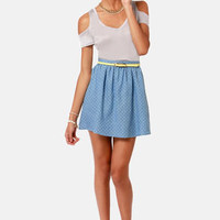 Way Down to Polka-mo Chambray Polka Dot Skirt