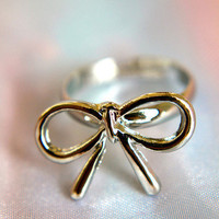 A Silver Lining Bow Ring
