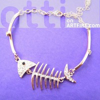 Pretty Sea Fish Bone Fishbone Animal Charm Bracelet in Rose Gold