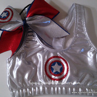 Cap&#x27;n Am  Metallic Sports Bra and Bow Set by SparkleBowsCheer
