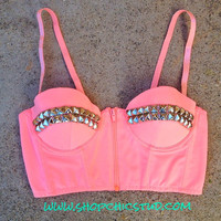 Studded Bustier Bra Top Peach Zipper Front  Gold by ShopChicStud