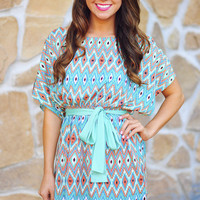 Look Me In The Eyes Dress: Teal | Hope's