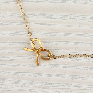 """Tiny bow necklace, gold bow necklace, bridesmaid necklace, 14k gold filled, sweet 16 birthday,  girly necklace, charm necklace, """"Tiny Bow"""""""