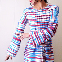 That's Entertainment  - iheartfink Handmade Hand Printed Artistic Colorful Striped Red White and Blue  Tunic Frock Top