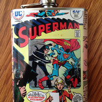 Superman Vintage Super Hero Comic Book Stainless Steel Hip Flask