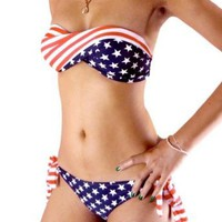 Sexy Bikini Twisted Tube AMERICAN Flag US Stars Stripes Padded Swimwear Swimsuit (M): Health & Personal Care