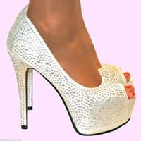 LADIES IVORY RHINESTONE PEEP TOE PLATFORM SHOE HEELS WEDDING BRIDAL PROM 3-8