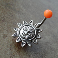 Orange Celestial Sun Belly Button Ring Jewelry
