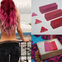Berry Pink Hair Chalk, Hair Tint, Hair Stain, Ombre Hair, Rainbow Hair, Festival Paint, DIY Temporary hair color, Reverse Ombre Hair