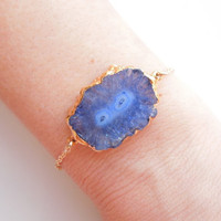 Solar Quartz Bracelet in Blue, Stalactite Jewelry, OOAK