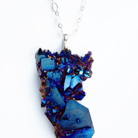 Cobalt Blue Druzy Quartz Crystal Necklace, Titanium Crystal Jewelry by Atelier Yumi