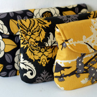 Wedding Clutch Gray and Yellow set of 3 bridesmaid clutch