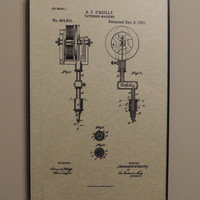 Tattoo Machine 1891 Patent Wall Art Poster