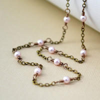 NEW Delicate Pearl Choker, Swarovski Pearl, Pastel Pink Rosaline, Antiqued Brass Necklace, Wire Wrapped Jewelry