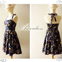 Dress Purple Floral Amor Vintage Inspired Romantic by Amordress