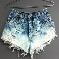 High Waisted Jean shorts -Bleached cut