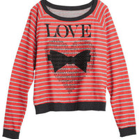 Love Bow Stripe Long-Sleeve Tee
