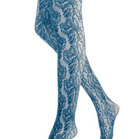 Two Tone Floral Net Tights  HUE Womens Two Tone Floral Net Tights