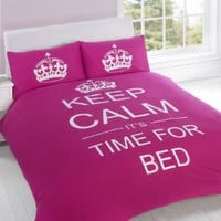 FULL CERISE PINK TEENAGER KEEP CALM ITS TIME FOR BED COTTON REVERSIBLE COMFORTER COVER: Home &amp; Kitchen