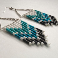 Hand Beaded Teal and White Chevron Earrings