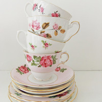 Mixed China Tea Set Queen Anne Royal Stafford by peonyandthistle