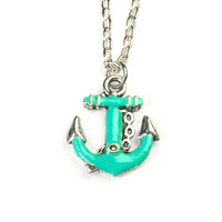 turquoise anchor necklace - anchor necklace - anchor jewelry - anchor pendant - turquoise necklace - turquoise jewelry - nautical jewelry -