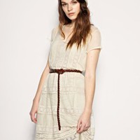 Embroidered Cream Drop Waist Dress