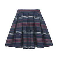 Blue Aztec Tapestry Skater Skirt